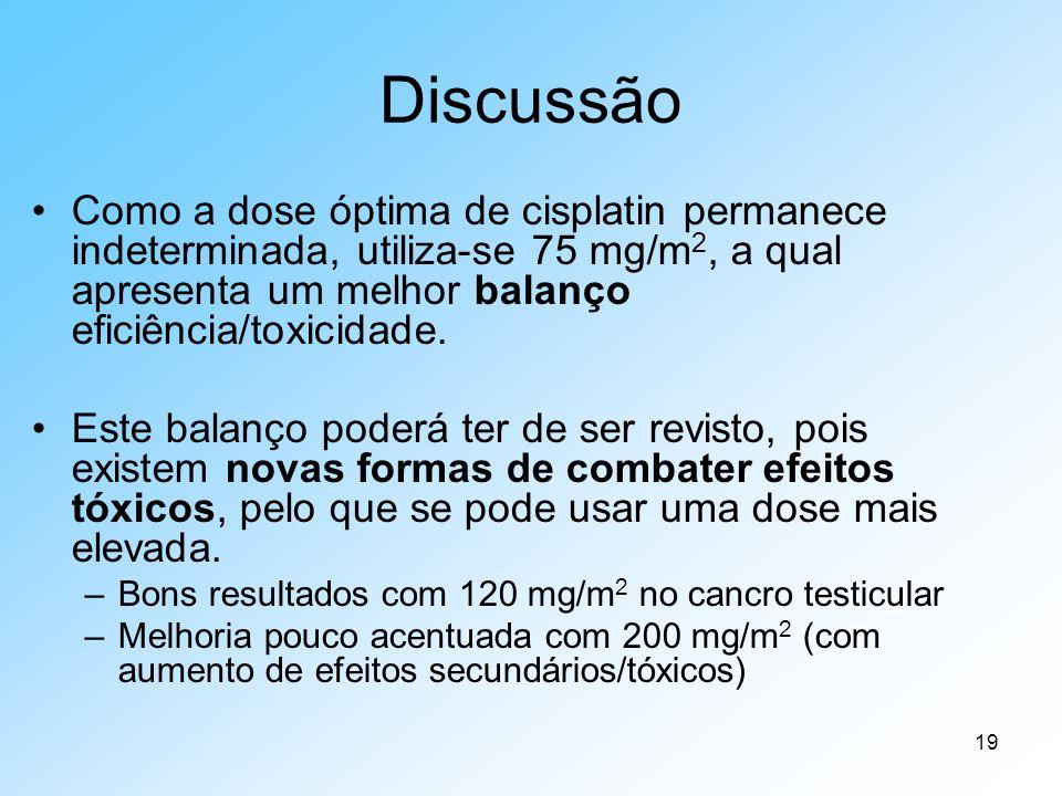 19 Discussão Como a dose óptima de cisplatin permanece indeterminada, utiliza-se 75 mg/m 2, a qual apresenta um melhor balanço eficiência/toxicidade.