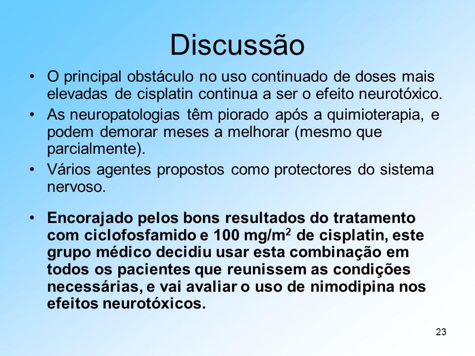 23 Discussão O principal obstáculo no uso continuado de doses mais elevadas de cisplatin continua a ser o efeito neurotóxico. As neuropatologias têm p