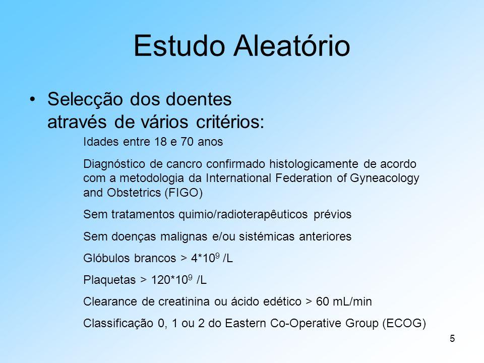 5 Estudo Aleatório Selecção dos doentes através de vários critérios: Idades entre 18 e 70 anos Diagnóstico de cancro confirmado histologicamente de acordo com a metodologia da International Federation of Gyneacology and Obstetrics (FIGO) Sem tratamentos quimio/radioterapêuticos prévios Sem doenças malignas e/ou sistémicas anteriores Glóbulos brancos > 4*10 9 /L Plaquetas > 120*10 9 /L Clearance de creatinina ou ácido edético > 60 mL/min Classificação 0, 1 ou 2 do Eastern Co-Operative Group (ECOG)