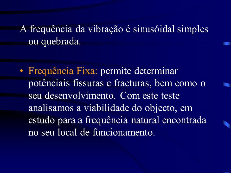 A frequência da vibração é sinusóidal simples ou quebrada. Frequência Fixa: permite determinar potênciais fissuras e fracturas, bem como o seu desenvo