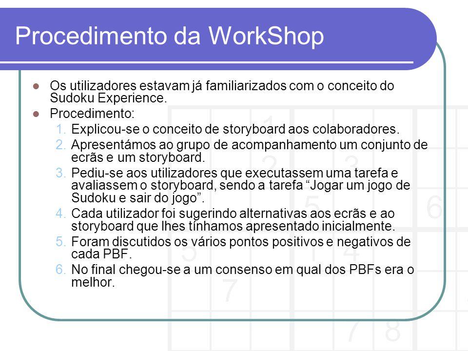 Procedimento da WorkShop Os utilizadores estavam já familiarizados com o conceito do Sudoku Experience.