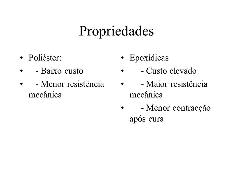 Propriedades Poliéster: - Baixo custo - Menor resistência mecânica Epoxídicas - Custo elevado - Maior resistência mecânica - Menor contracção após cur