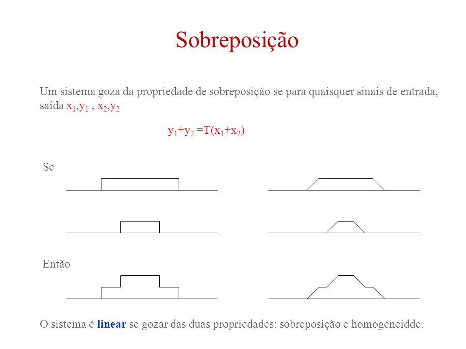 Sobreposição Um sistema goza da propriedade de sobreposição se para quaisquer sinais de entrada, saída x 1,y 1, x 2,y 2 y 1 +y 2 =T(x 1 +x 2 ) O sistema é linear se gozar das duas propriedades: sobreposição e homogeneidde.
