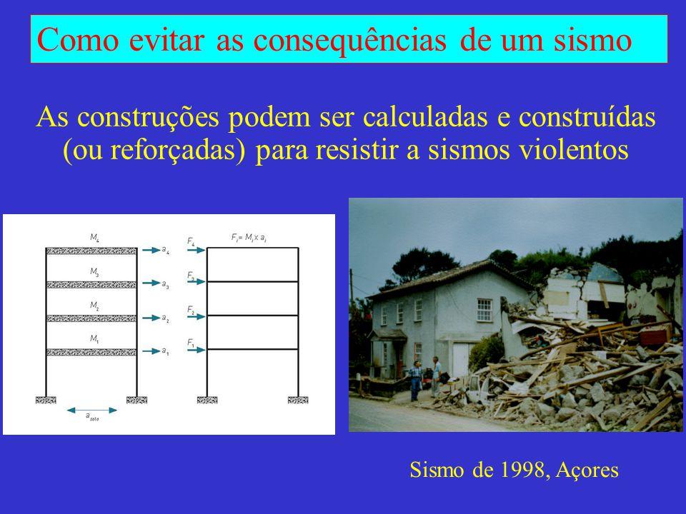 Como evitar as consequências de um sismo Sismo de 1998, Açores – construções próximas na freguesia de Pedro Miguel Igreja: construção antiga em alvenaria Escola: construção recente em betão armado