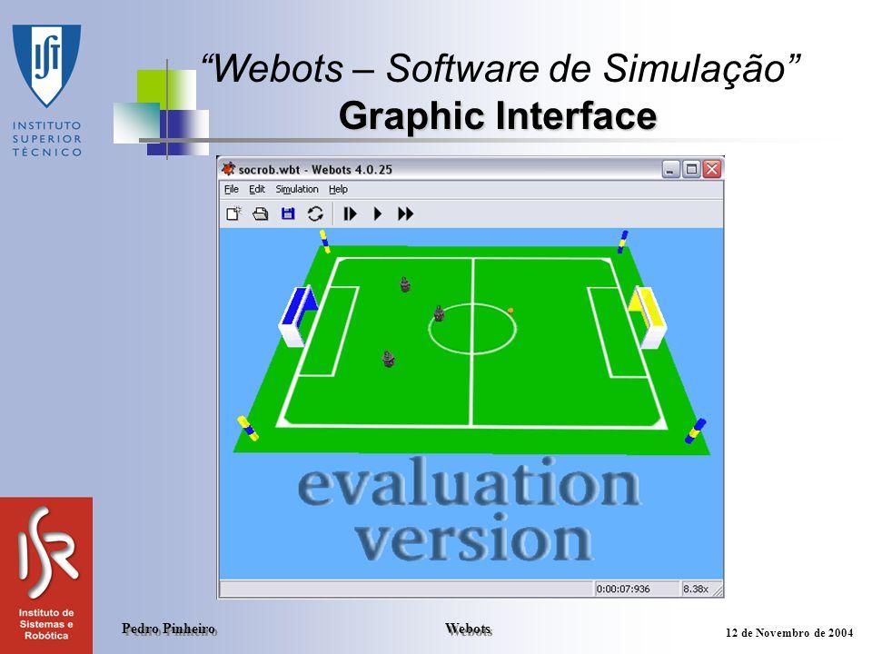 Webots Pedro Pinheiro 12 de Novembro de 2004 Graphic Interface Webots – Software de Simulação Graphic Interface