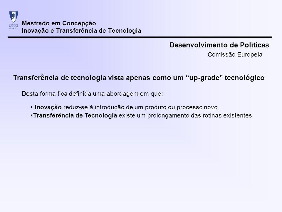 Mestrado em Concepção Inovação e Transferência de Tecnologia Transferência de tecnologia vista apenas como um up-grade tecnológico Inovação reduz-se à