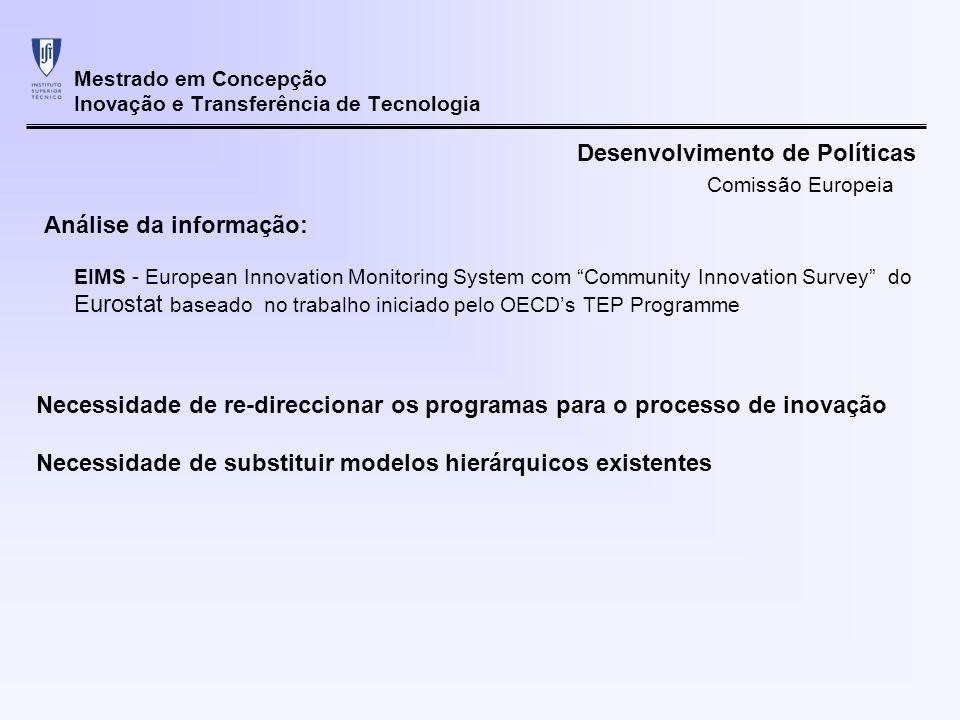 Mestrado em Concepção Inovação e Transferência de Tecnologia Necessidade de re-direccionar os programas para o processo de inovação Necessidade de sub