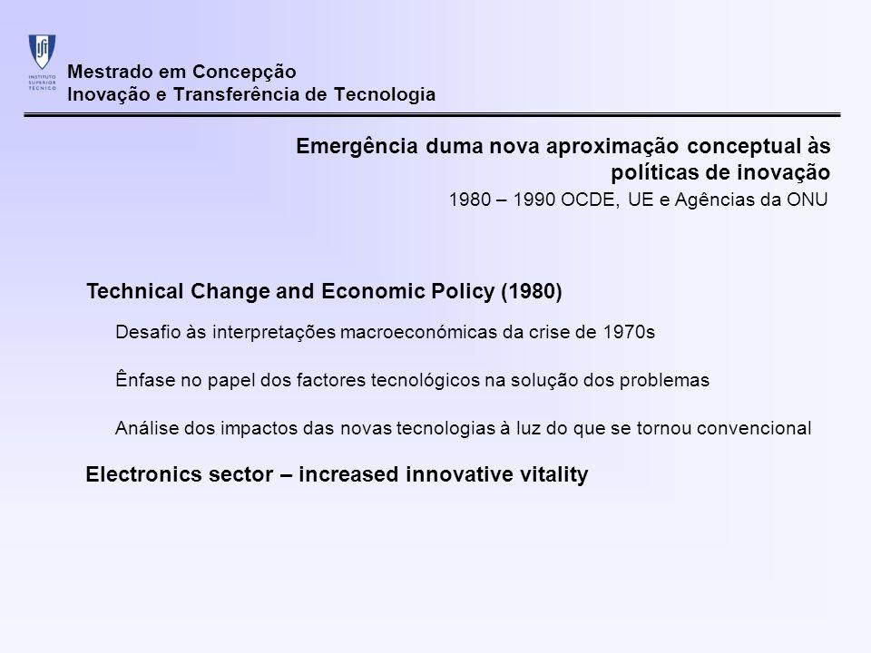 Mestrado em Concepção Inovação e Transferência de Tecnologia Emergência duma nova aproximação conceptual às políticas de inovação Sundquist Report (1988) Análise integrada das questões sociais, económicas e tecnológicas Mudanças tecnológicas são um processo social e devem ser vistas como um processo dinâmico Documento standard de recolha de informação sobre I&D 1980 – 1990 OCDE, UE e Agências da ONU Frascati Manual (desde 1960)
