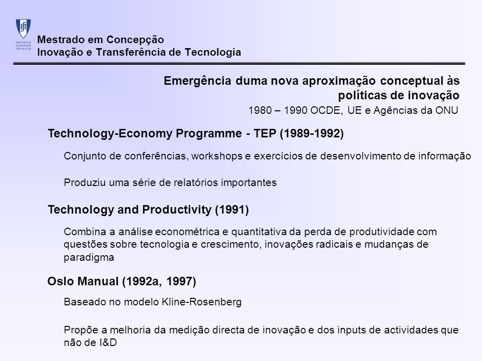Mestrado em Concepção Inovação e Transferência de Tecnologia Emergência duma nova aproximação conceptual às políticas de inovação Technology and the Economy – The Key Relationships (1992b) Baseado também no modelo Kline-Rosenberg Introdução de vários conceitos na discussão de políticas de inovação Introdução do conceito de Sistemas Nacionais de Inovação 1980 – 1990 OCDE, UE e Agências da ONU Clustering Alianças estratégicas Spillovers Importância do conhecimento tácito Vários documentos da OCDE (1994-1998) Consolidação do conceito de Sistemas Nacionais de Inovação como nuclear