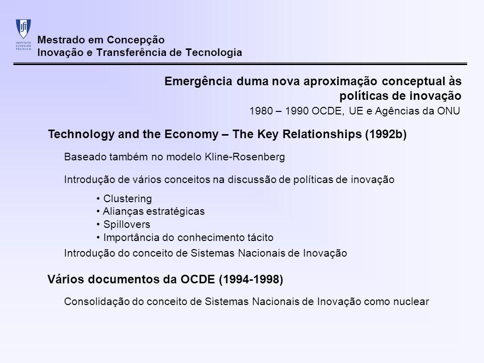Mestrado em Concepção Inovação e Transferência de Tecnologia Emergência duma nova aproximação conceptual às políticas de inovação Desta forma a transição conceptual concretiza-se Abandono do modelo linear Crescimento e competitividade alicerçados 1980 – 1990 OCDE, UE e Agências da ONU Num estímulo das actividades de I&D e a sua transferência para o sector produtivo No entanto a passagem à prática falhou nos seus objectivos Estudos centrados apenas nos sistemas tradicionais de I&D e educação técnica Documentos posteriores (1999) Organizados explicitamente em torno do conceito de sistemas de inovação nacionais