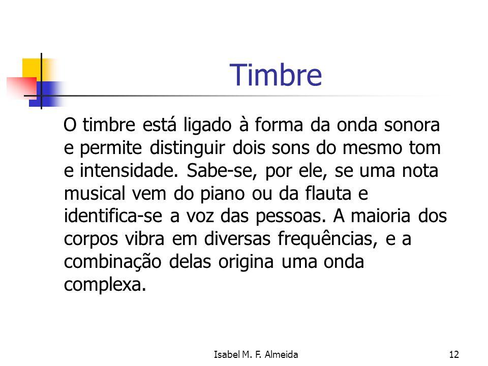 Isabel M. F. Almeida12 Timbre O timbre está ligado à forma da onda sonora e permite distinguir dois sons do mesmo tom e intensidade. Sabe-se, por ele,