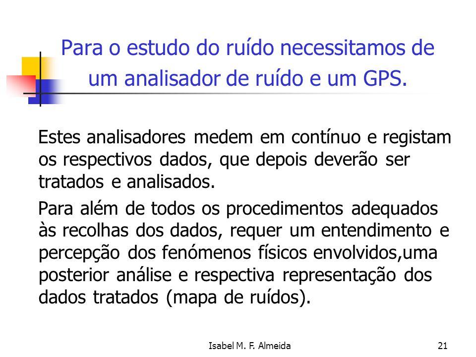 Isabel M. F. Almeida21 Para o estudo do ruído necessitamos de um analisador de ruído e um GPS. Estes analisadores medem em contínuo e registam os resp