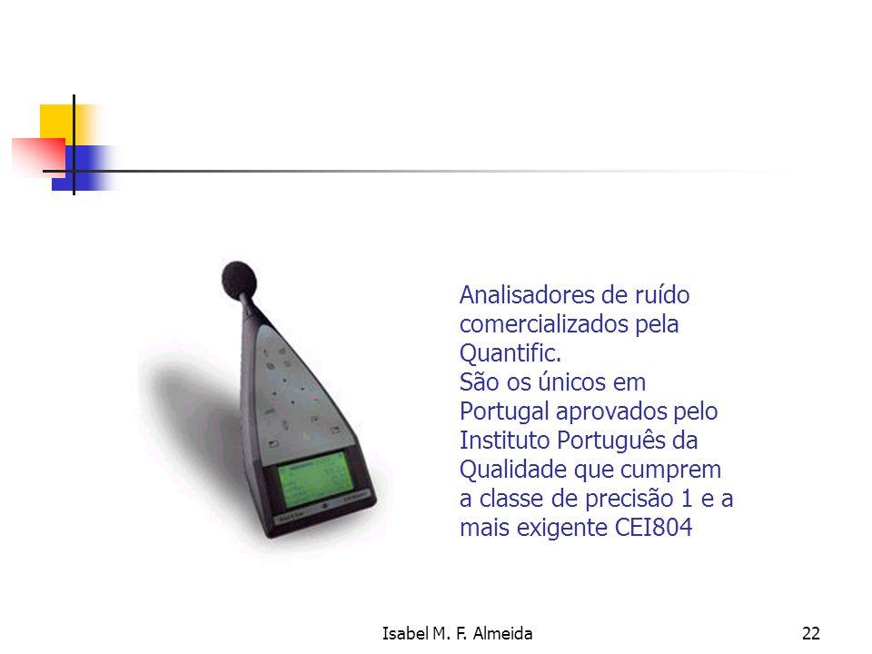 Isabel M. F. Almeida22 Analisadores de ruído comercializados pela Quantific. São os únicos em Portugal aprovados pelo Instituto Português da Qualidade