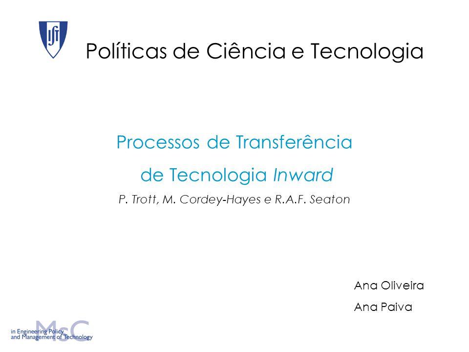Políticas de Ciência e Tecnologia Processos de Transferência de Tecnologia Inward P.