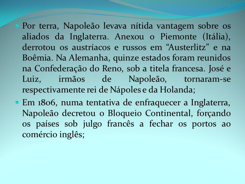 Por terra, Napoleão levava nítida vantagem sobre os aliados da Inglaterra.