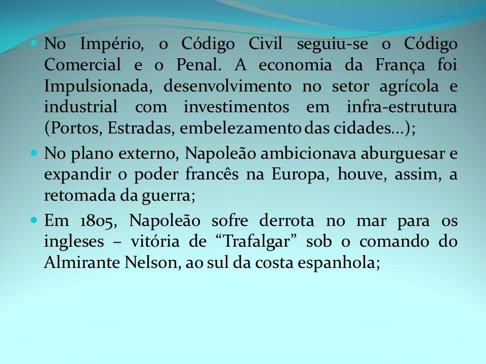 No Império, o Código Civil seguiu-se o Código Comercial e o Penal.