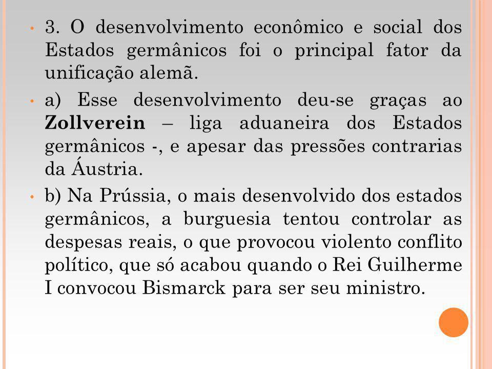 3. O desenvolvimento econômico e social dos Estados germânicos foi o principal fator da unificação alemã. a) Esse desenvolvimento deu-se graças ao Zol