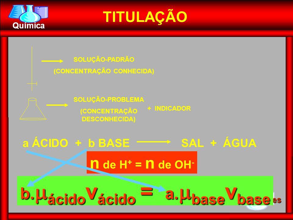 1º Ten Hercules Química n de H + = n de OH - TITULAÇÃO SOLUÇÃO-PADRÃO (CONCENTRAÇÃO CONHECIDA) SOLUÇÃO-PROBLEMA (CONCENTRAÇÃO DESCONHECIDA) + INDICADOR a ÁCIDO + b BASESAL + ÁGUA b.