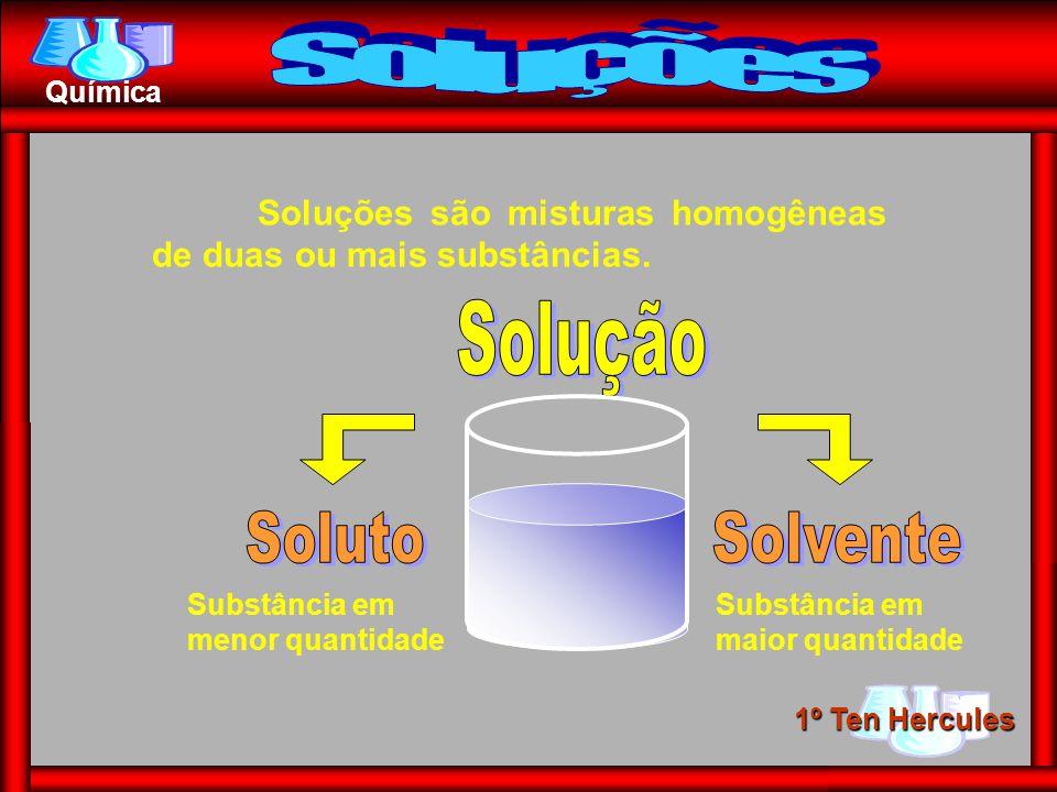 1º Ten Hercules Química Soluções são misturas homogêneas de duas ou mais substâncias. Substância em menor quantidade Substância em maior quantidade