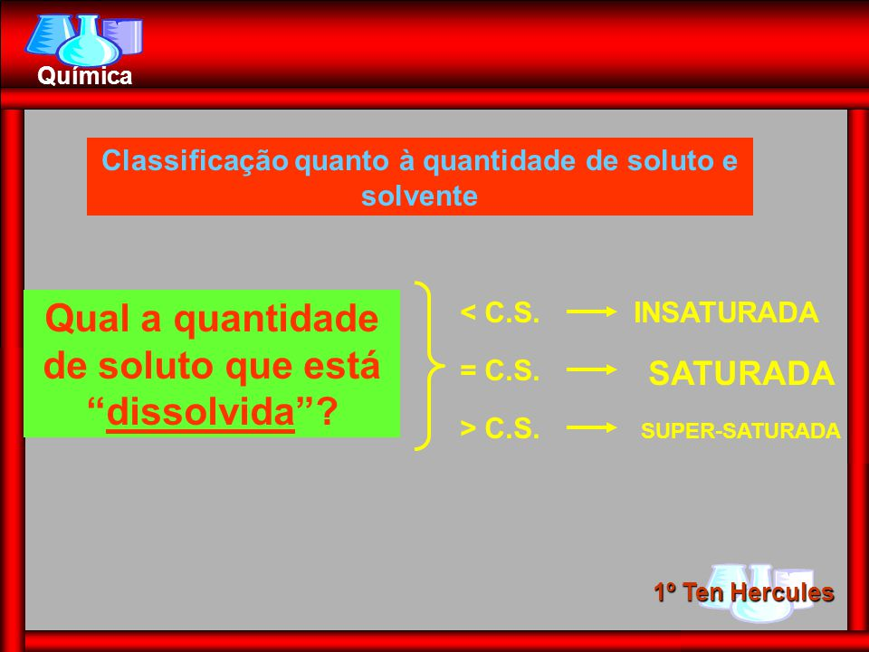 1º Ten Hercules Química Qual a quantidade de soluto que estádissolvida? < C.S.INSATURADA = C.S. > C.S. SATURADA SUPER-SATURADA Classificação quanto à