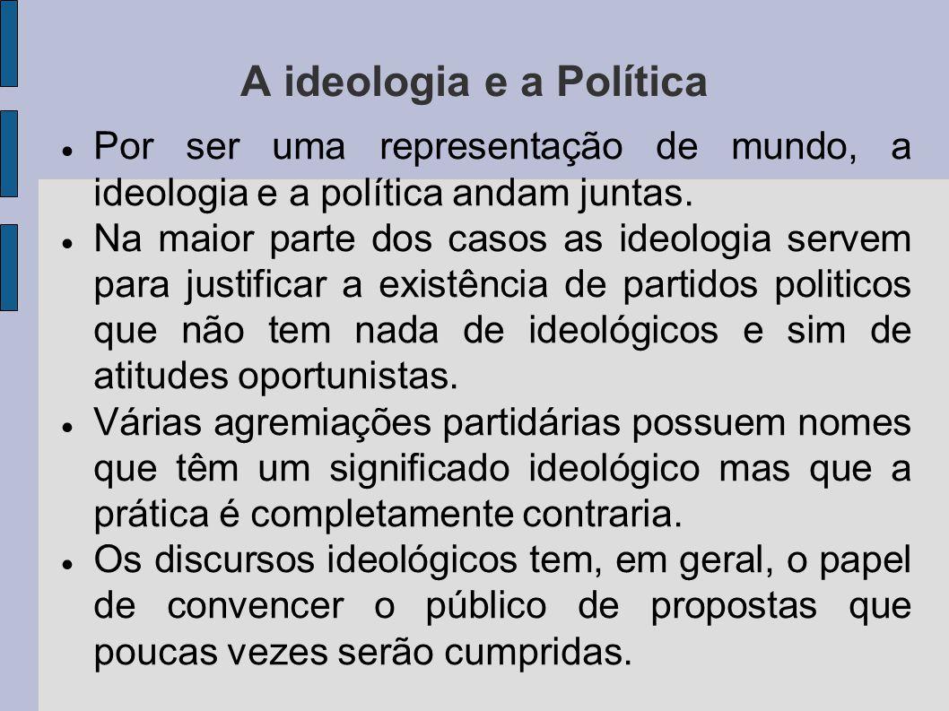 A ideologia e a Política Por ser uma representação de mundo, a ideologia e a política andam juntas.