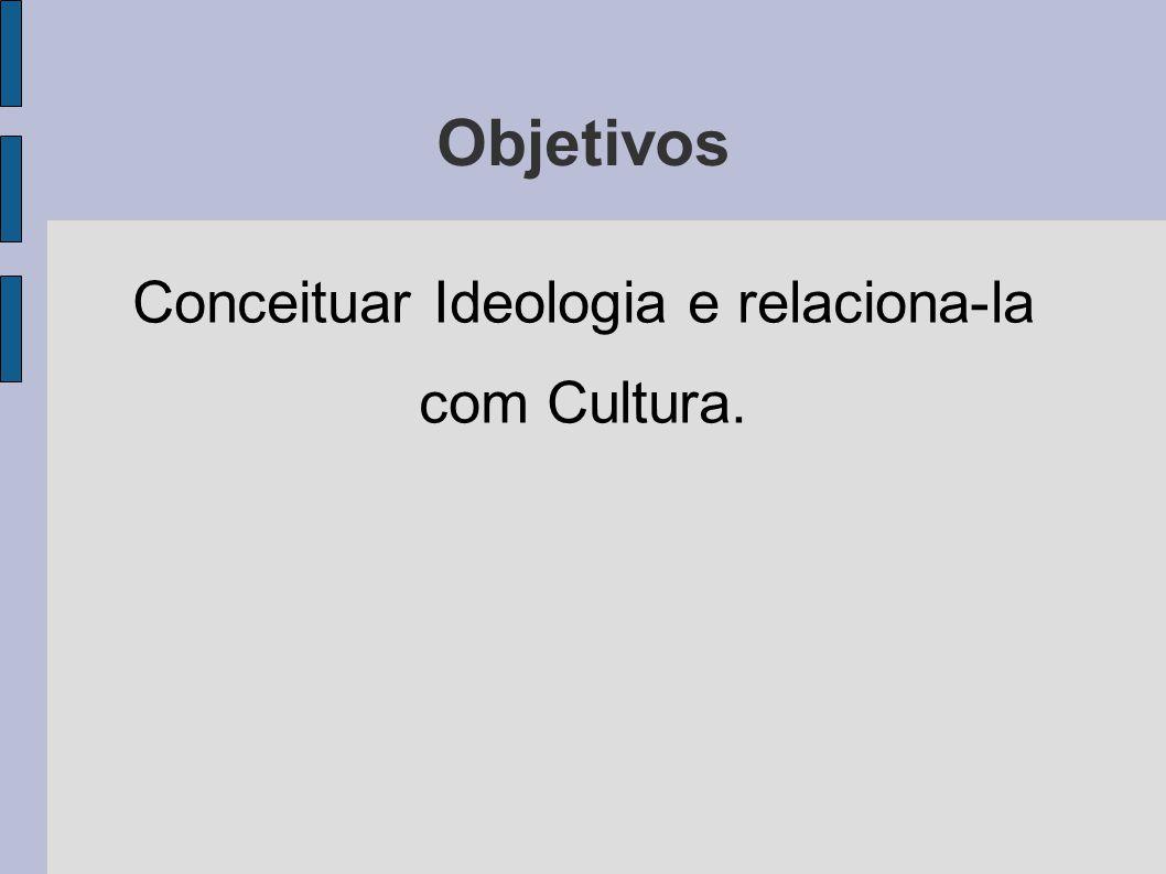 Objetivos Conceituar Ideologia e relaciona-la com Cultura.