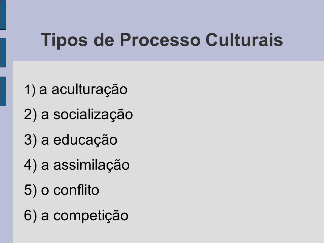 Tipos de Processo Culturais 1) a aculturação 2) a socialização 3) a educação 4) a assimilação 5) o conflito 6) a competição