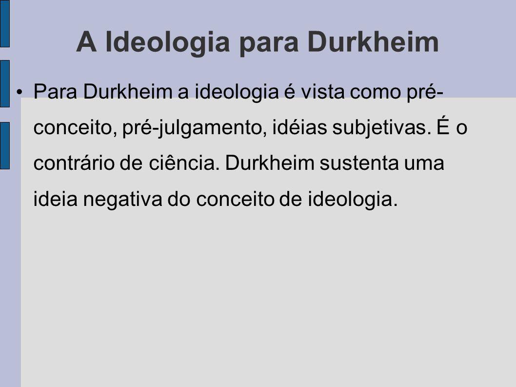 A Ideologia para Durkheim Para Durkheim a ideologia é vista como pré- conceito, pré-julgamento, idéias subjetivas.
