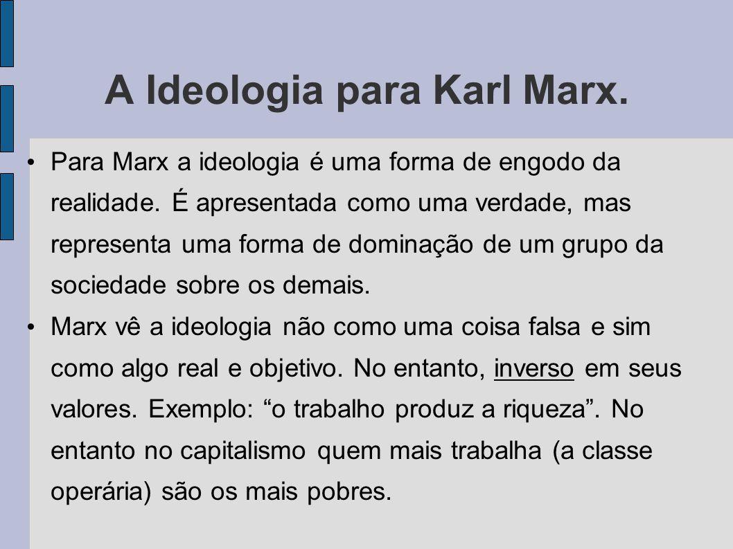 A Ideologia para Karl Marx.Para Marx a ideologia é uma forma de engodo da realidade.