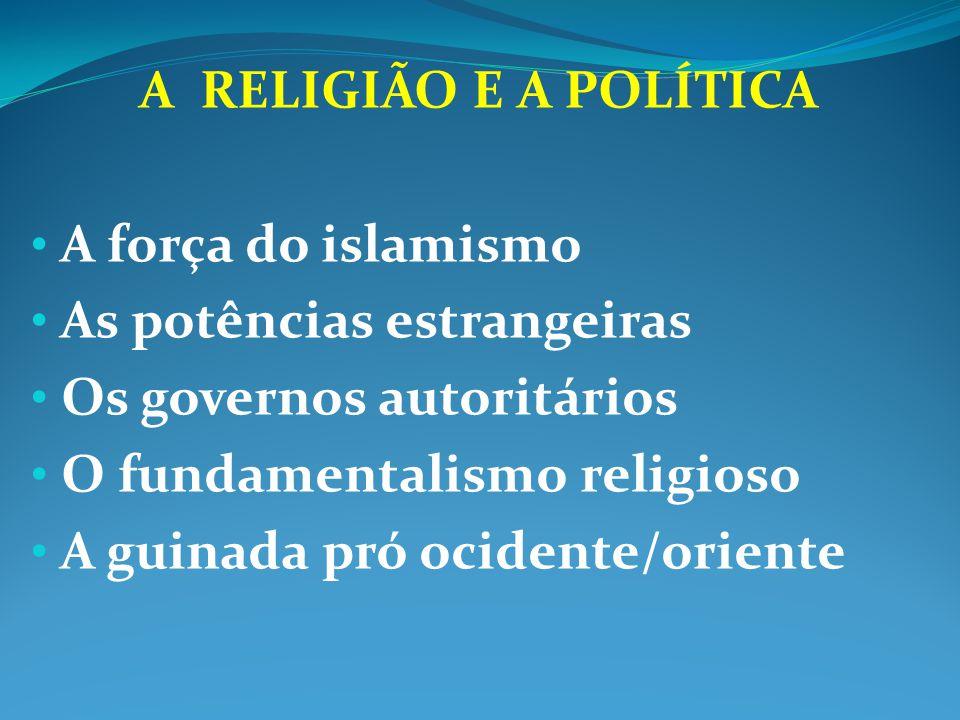 A RELIGIÃO E A POLÍTICA A força do islamismo As potências estrangeiras Os governos autoritários O fundamentalismo religioso A guinada pró ocidente/ori