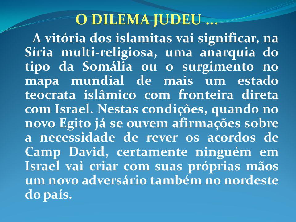 O DILEMA JUDEU... A vitória dos islamitas vai significar, na Síria multi-religiosa, uma anarquia do tipo da Somália ou o surgimento no mapa mundial de