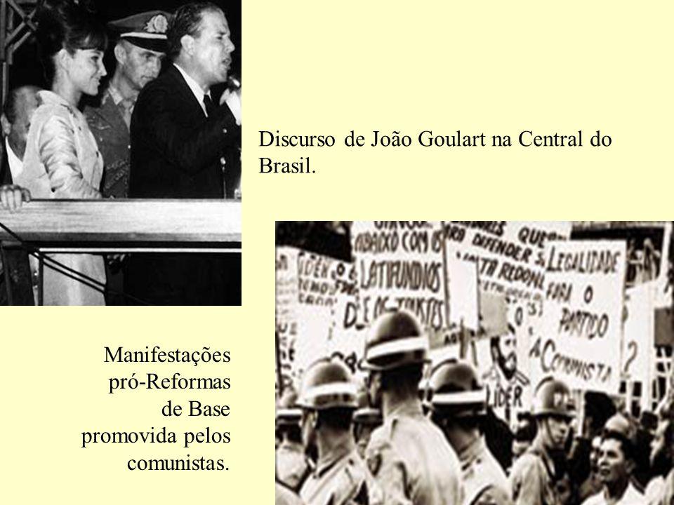 Discurso de João Goulart na Central do Brasil. Manifestações pró-Reformas de Base promovida pelos comunistas.