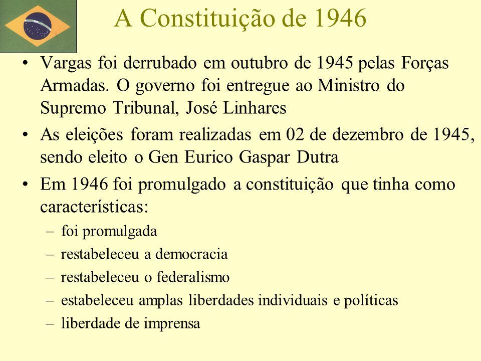 A Constituição de 1946 Vargas foi derrubado em outubro de 1945 pelas Forças Armadas. O governo foi entregue ao Ministro do Supremo Tribunal, José Linh