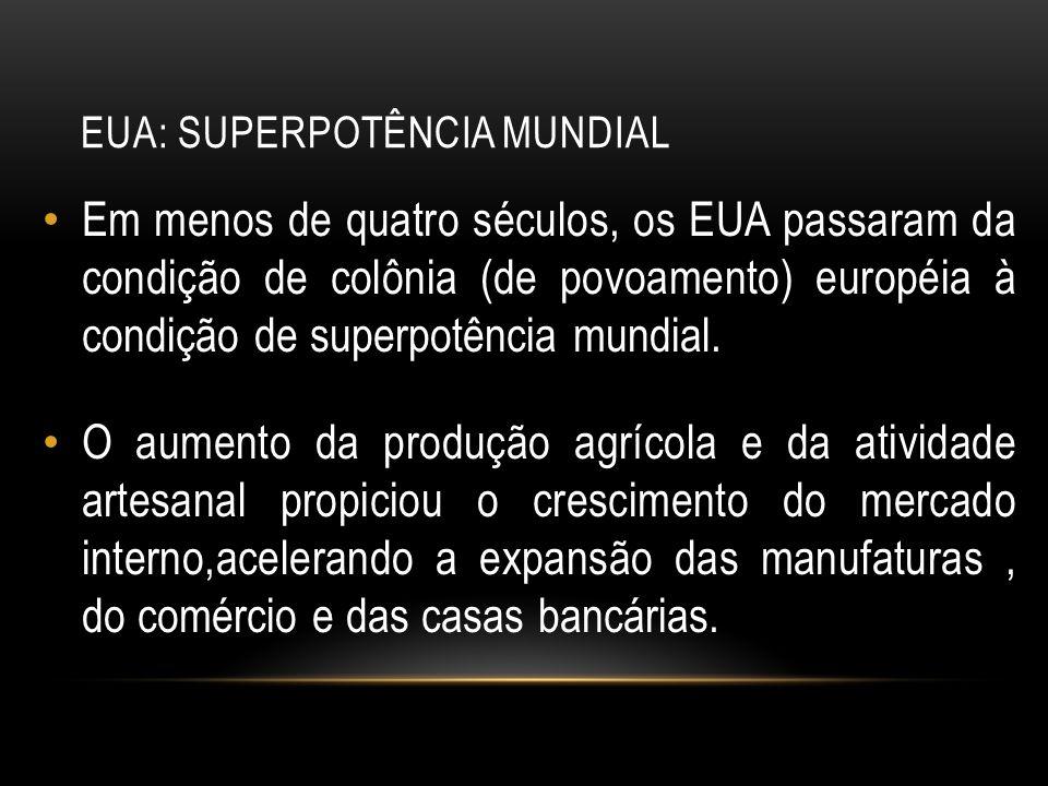 EUA: SUPERPOTÊNCIA MUNDIAL Em menos de quatro séculos, os EUA passaram da condição de colônia (de povoamento) européia à condição de superpotência mun
