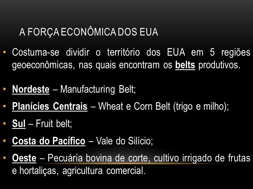 A FORÇA ECONÔMICA DOS EUA Costuma-se dividir o território dos EUA em 5 regiões geoeconômicas, nas quais encontram os belts produtivos. Nordeste – Manu