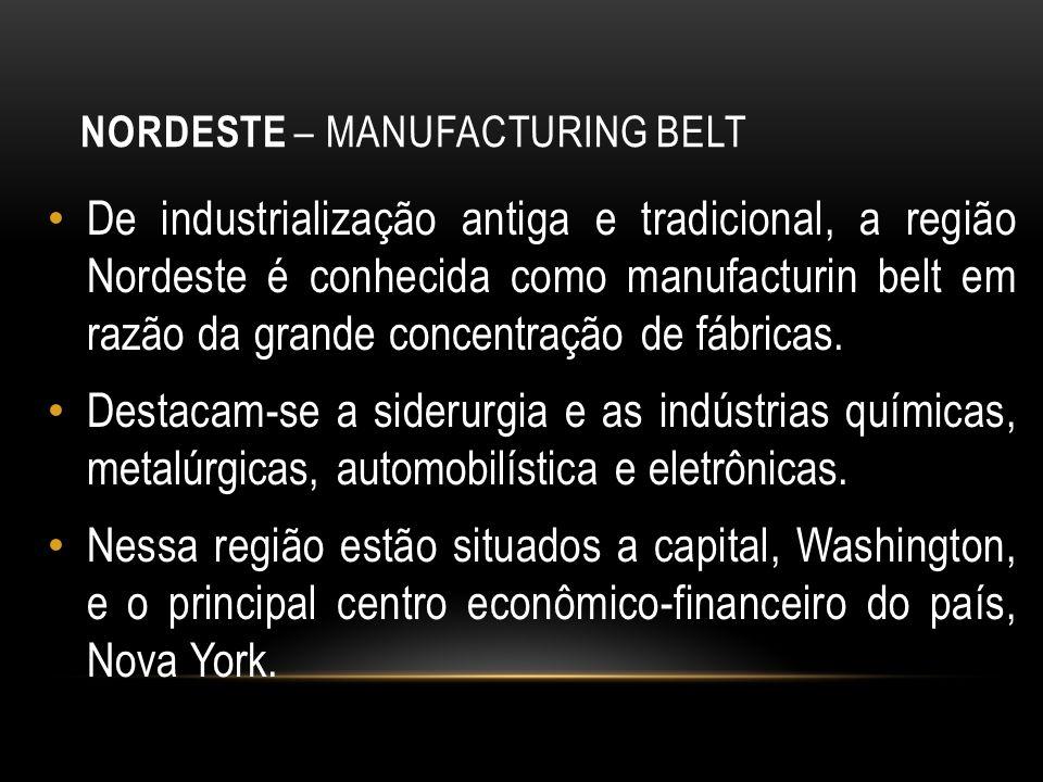 NORDESTE – MANUFACTURING BELT De industrialização antiga e tradicional, a região Nordeste é conhecida como manufacturin belt em razão da grande concen