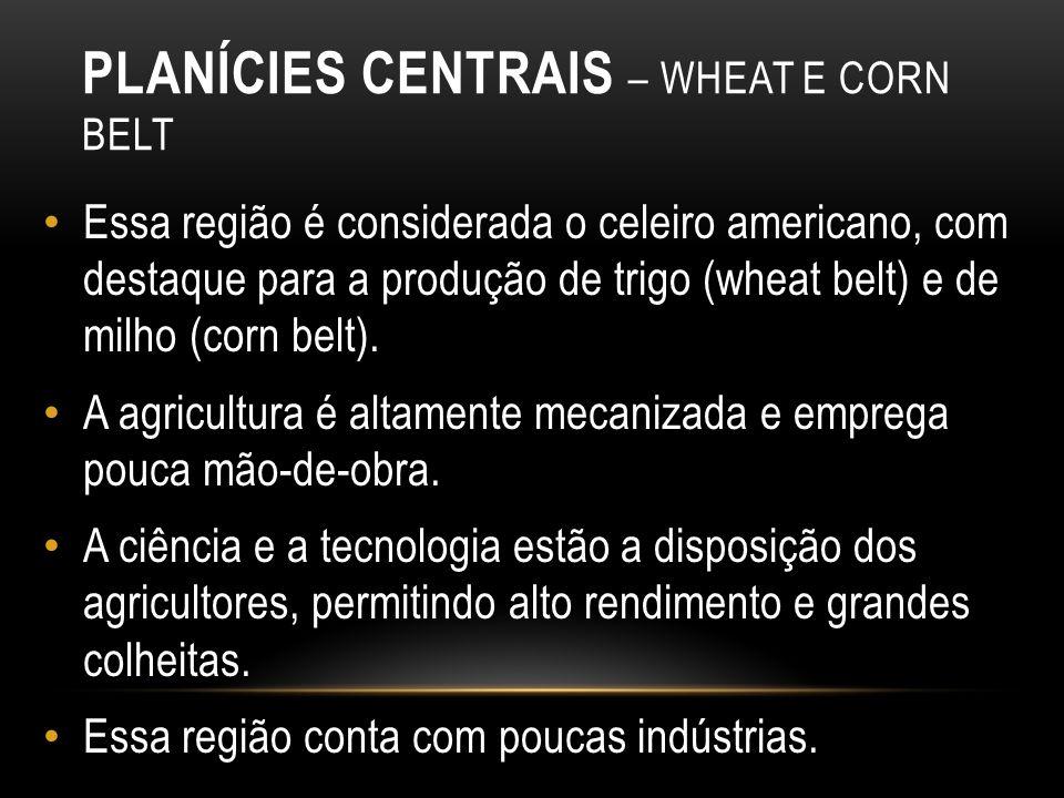 PLANÍCIES CENTRAIS – WHEAT E CORN BELT Essa região é considerada o celeiro americano, com destaque para a produção de trigo (wheat belt) e de milho (c
