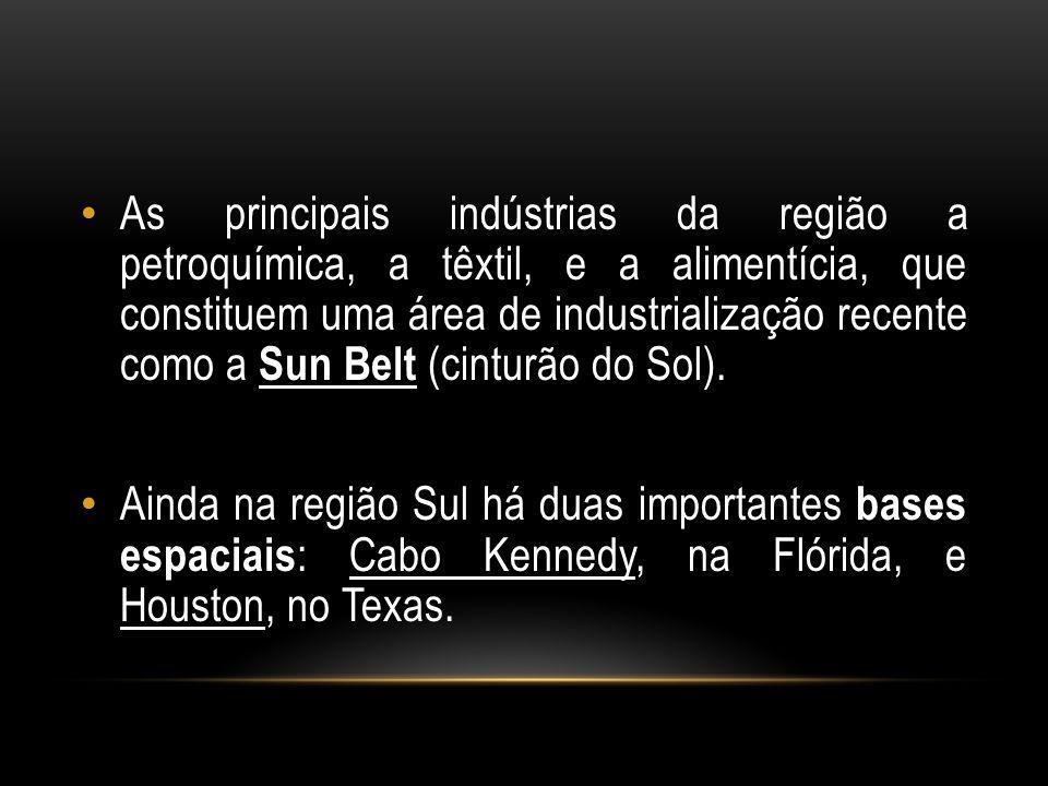 As principais indústrias da região a petroquímica, a têxtil, e a alimentícia, que constituem uma área de industrialização recente como a Sun Belt (cin