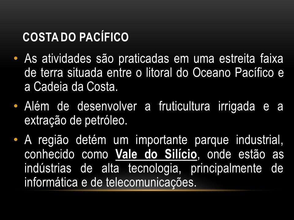 COSTA DO PACÍFICO As atividades são praticadas em uma estreita faixa de terra situada entre o litoral do Oceano Pacífico e a Cadeia da Costa. Além de