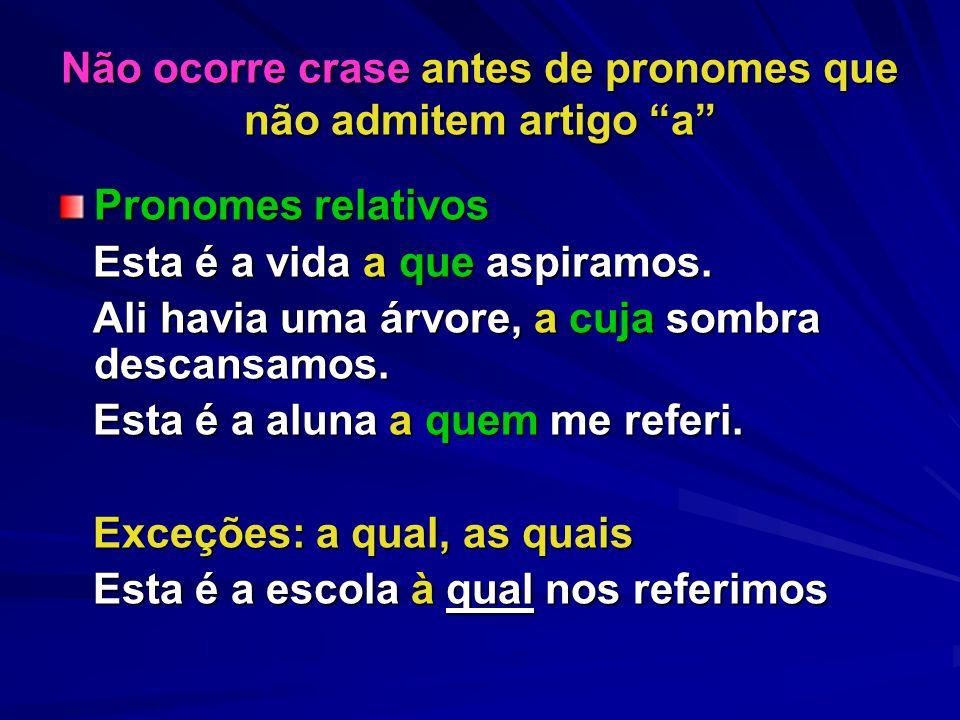 Não ocorre crase antes de pronomes que não admitem artigo a Pronomes relativos Esta é a vida a que aspiramos.