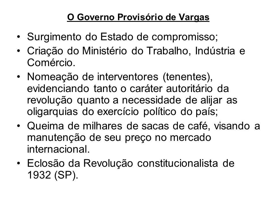 O Governo Provisório de Vargas Surgimento do Estado de compromisso; Criação do Ministério do Trabalho, Indústria e Comércio. Nomeação de interventores