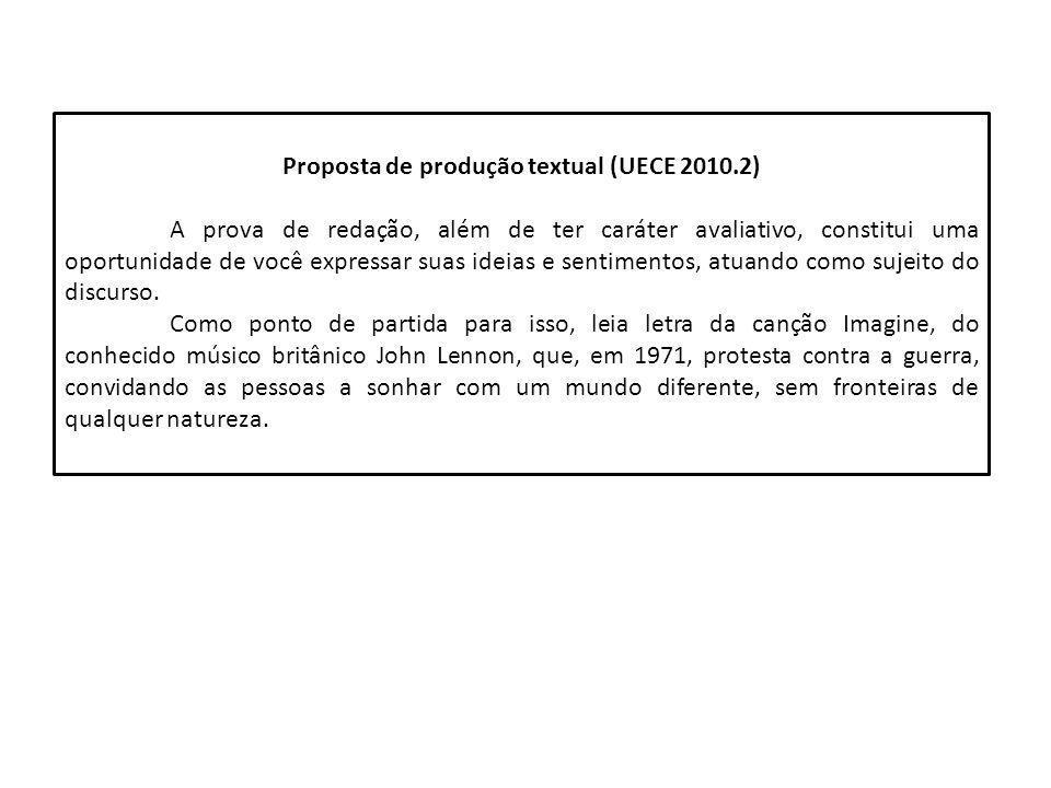 Proposta de produção textual (UECE 2010.2) A prova de redação, além de ter caráter avaliativo, constitui uma oportunidade de você expressar suas ideia