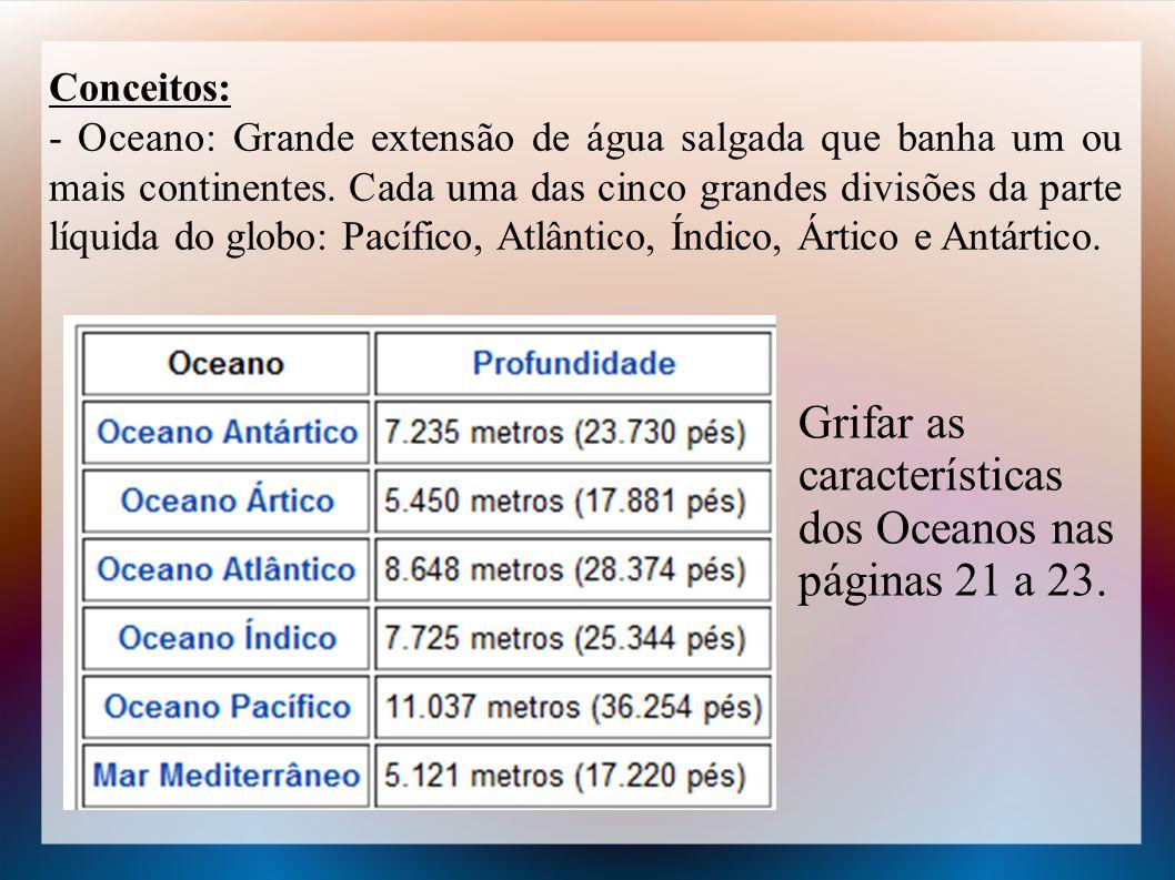 Conceitos: - Oceano: Grande extensão de água salgada que banha um ou mais continentes. Cada uma das cinco grandes divisões da parte líquida do globo:
