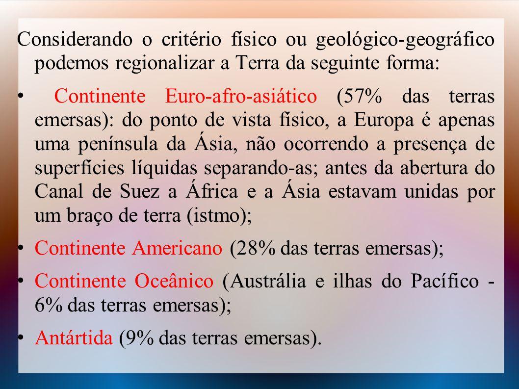 Considerando o critério físico ou geológico-geográfico podemos regionalizar a Terra da seguinte forma: Continente Euro-afro-asiático (57% das terras e