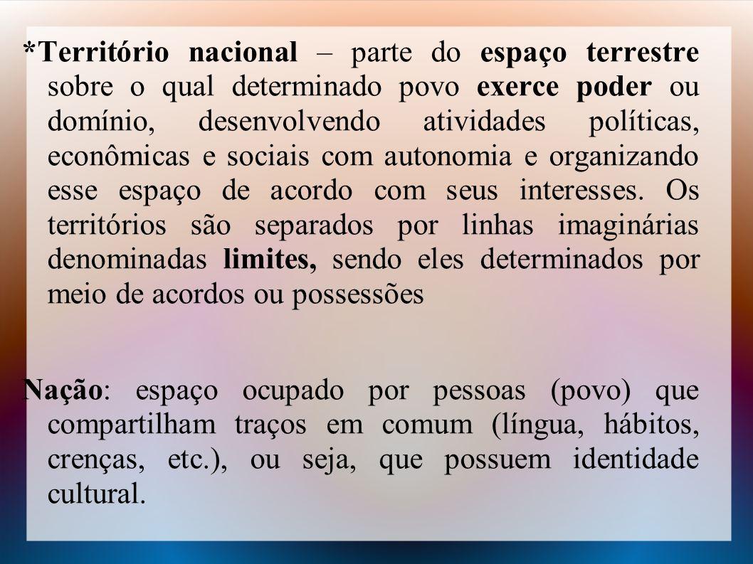 *Território nacional – parte do espaço terrestre sobre o qual determinado povo exerce poder ou domínio, desenvolvendo atividades políticas, econômicas