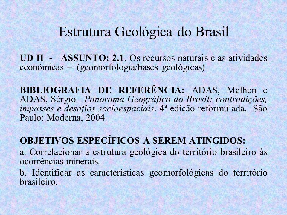 Estrutura Geológica do Brasil UD II - ASSUNTO: 2.1. Os recursos naturais e as atividades econômicas – (geomorfologia/bases geológicas) BIBLIOGRAFIA DE