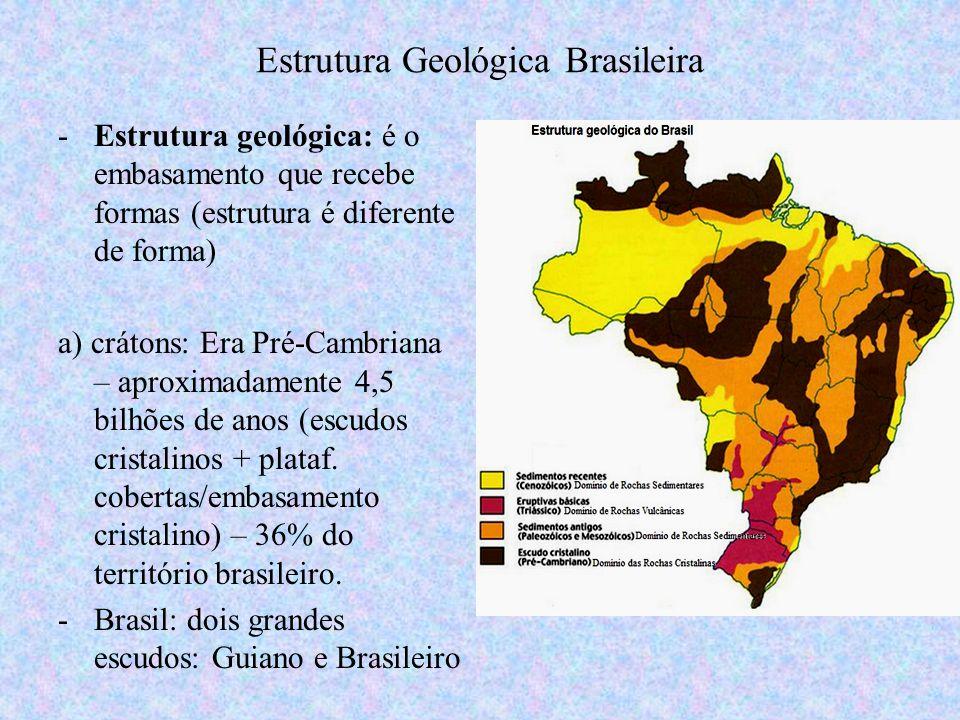 -Estrutura geológica: é o embasamento que recebe formas (estrutura é diferente de forma) a) crátons: Era Pré-Cambriana – aproximadamente 4,5 bilhões d