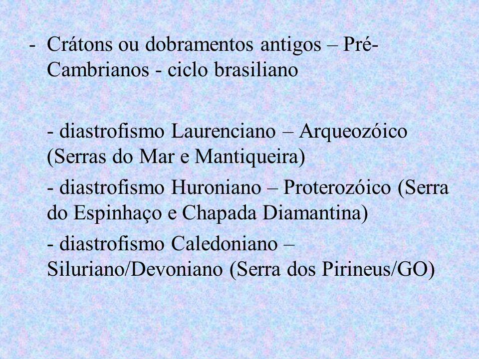 -Crátons ou dobramentos antigos – Pré- Cambrianos - ciclo brasiliano - diastrofismo Laurenciano – Arqueozóico (Serras do Mar e Mantiqueira) - diastrof
