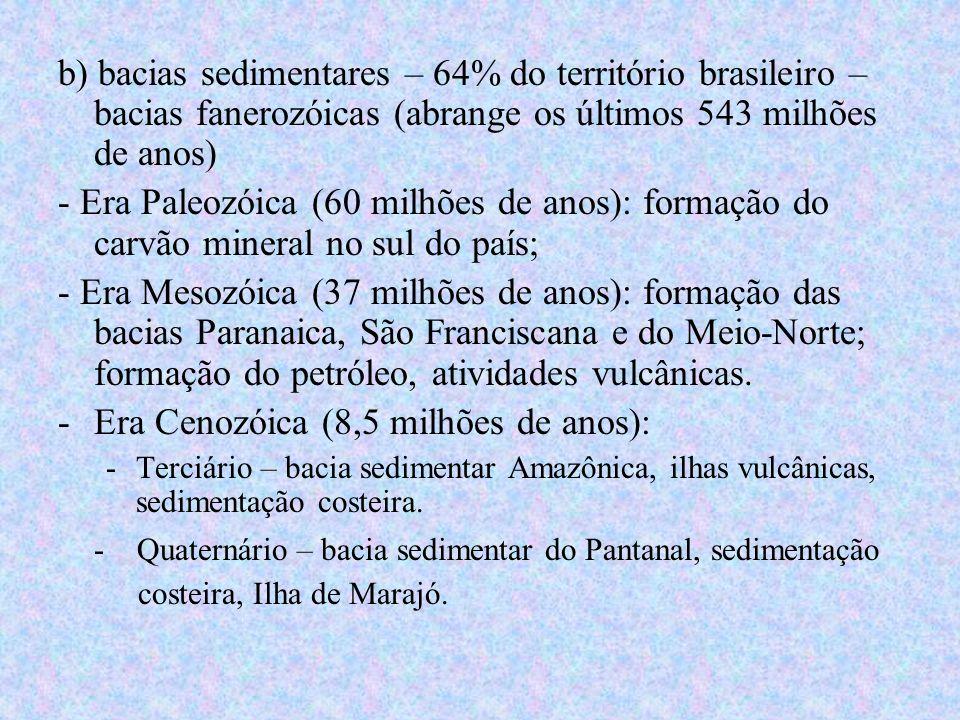 b) bacias sedimentares – 64% do território brasileiro – bacias fanerozóicas (abrange os últimos 543 milhões de anos) - Era Paleozóica (60 milhões de a