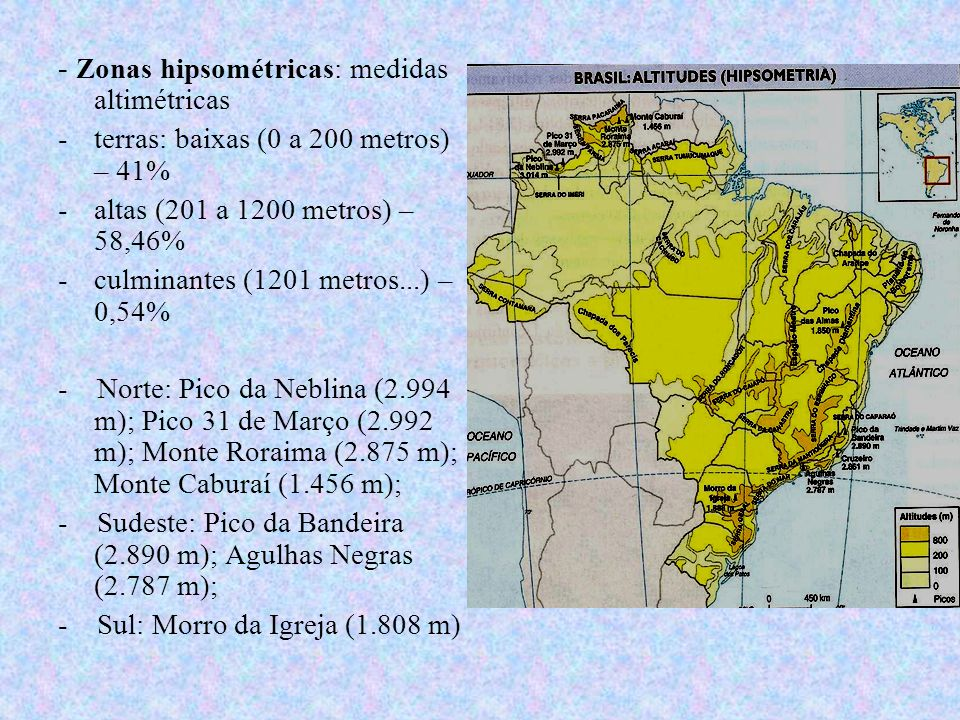 - Zonas hipsométricas: medidas altimétricas -terras: baixas (0 a 200 metros) – 41% -altas (201 a 1200 metros) – 58,46% -culminantes (1201 metros...) –